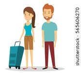 travelers group with suitcases... | Shutterstock .eps vector #565606270