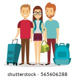 travelers group with suitcases... | Shutterstock .eps vector #565606288