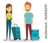 travelers group with suitcases... | Shutterstock .eps vector #565606294