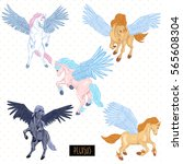 vintage vector set of winged... | Shutterstock .eps vector #565608304