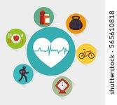 set fitness equipment icon | Shutterstock .eps vector #565610818