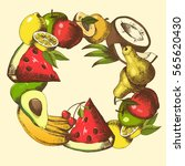 background with fruits arranged ... | Shutterstock .eps vector #565620430