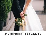 bridal bouquet close up in the... | Shutterstock . vector #565622350