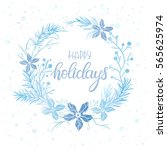 winter wreath and hand drawn...   Shutterstock .eps vector #565625974