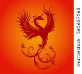 silhouette of phoenix bird. red ... | Shutterstock .eps vector #565637563