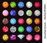 colored gems set naming  vector ... | Shutterstock .eps vector #565639084
