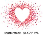 Stock vector heart shape vector pink confetti splash with white heart frame inside 565644496