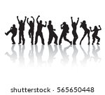 silhouette active happy group... | Shutterstock .eps vector #565650448