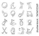 set of golf related vector line ... | Shutterstock .eps vector #565652269