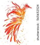 fiery mythical bird on white... | Shutterstock .eps vector #565652524