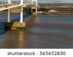 Piers of the old Severn Crossing welsh Pont Hafren bridge that crosses from England to Wales across the rivers Severn and Wye.