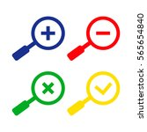 zoom icons. blue. green. yellow.... | Shutterstock .eps vector #565654840