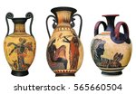ancient greek vase isolated on... | Shutterstock . vector #565660504