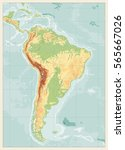 south america detailed physical ... | Shutterstock .eps vector #565667026