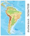 south america detailed physical ... | Shutterstock .eps vector #565667038