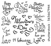 cute lettering valentines day... | Shutterstock .eps vector #565667944