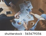 small team working together... | Shutterstock . vector #565679356