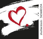 heart brush painted banner.    Shutterstock .eps vector #565680154
