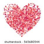 vector big heart made from pink ... | Shutterstock .eps vector #565680544