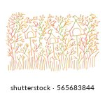 bird on the tree decorative...   Shutterstock .eps vector #565683844