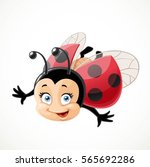 cute cartoon ladybug fly on... | Shutterstock .eps vector #565692286