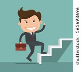 businessman climbing the stairs ... | Shutterstock .eps vector #565693696