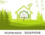 the tree inside the house on... | Shutterstock .eps vector #565694548