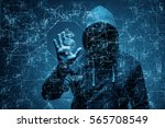 hacker stealing dollars from... | Shutterstock . vector #565708549