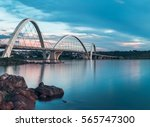JK Bridge and Paranoa Lake in Brasilia, Brazil.