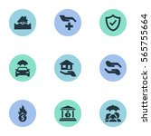 set of 9 simple insurance icons.... | Shutterstock .eps vector #565755664