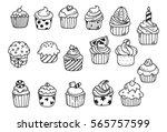 set of cupcake doodle | Shutterstock .eps vector #565757599