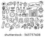 set of cute random doodle...   Shutterstock .eps vector #565757608