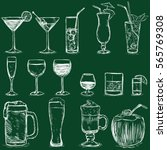 vector set of chalk cocktails... | Shutterstock .eps vector #565769308