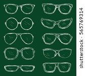 vector set of chalk eyeglasses... | Shutterstock .eps vector #565769314
