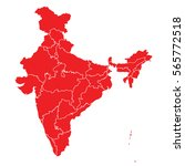 red map of india | Shutterstock .eps vector #565772518