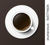 coffee cup top view vector... | Shutterstock .eps vector #565774834