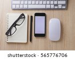 office desk wood with computer  ... | Shutterstock . vector #565776706