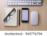 office desk wood with computer  ... | Shutterstock . vector #565776706