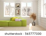 White Room With Green Sofa And...