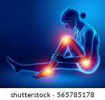 3d illustration of pain in leg | Shutterstock . vector #565785178