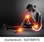 3d illustration of pain in leg   Shutterstock . vector #565788970