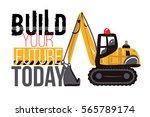 crawler excavator and build...   Shutterstock .eps vector #565789174