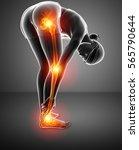 3d illustration of pain in leg   Shutterstock . vector #565790644