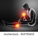 3d illustration of pain in leg   Shutterstock . vector #565790653