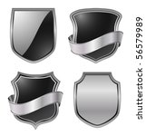 metallic shields - vector set - stock vector