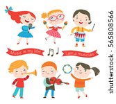 children playing music... | Shutterstock .eps vector #565808566