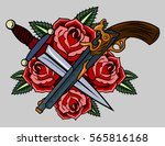 revolvers and red roses. old... | Shutterstock .eps vector #565816168