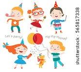 children having fun at birthday ... | Shutterstock .eps vector #565817338