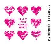 pink heart with grunge effect...   Shutterstock .eps vector #565825378