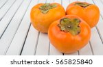 Persimmon Fruits Over White...